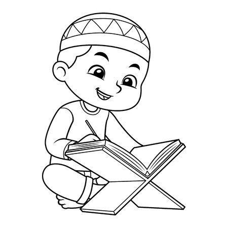 Moslem Boy reciting quran with happy face BW