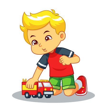 Boy Playing With His Truck Toy.