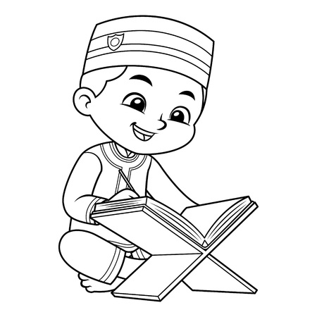Moslem Boy Reading Quran BW.  Ilustrace