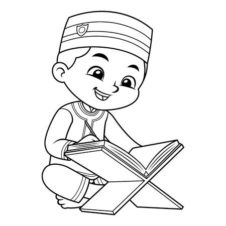 Moslemischer Junge, der Koran BW liest.