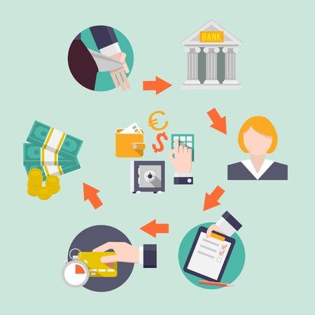 cash flows: Bank credit icons.  Illustration