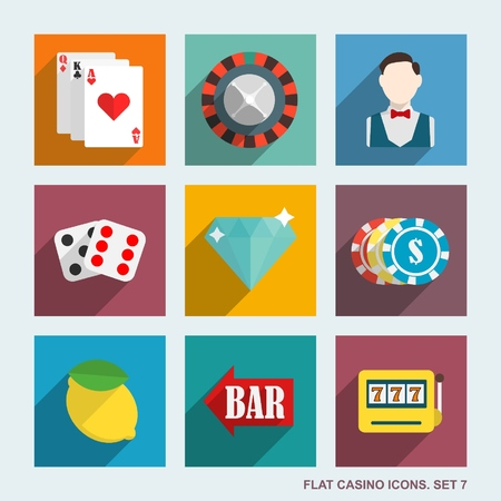 clover face: casino flat icons.