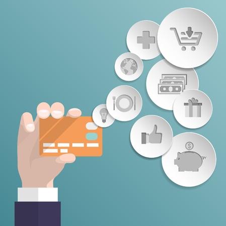 credit card debt: credit card icons.