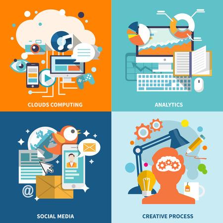 iconos de m�sica: Concepto de negocio iconos planos establecen Vectores