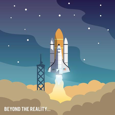 launching: Concept shuttle vector illustration. Space shot. Illustration
