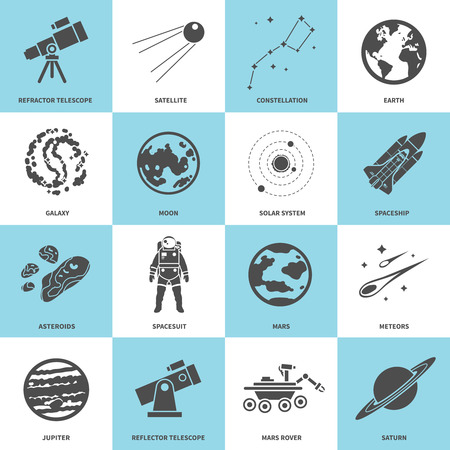system: Astronomy Vector Icons Set Illustration