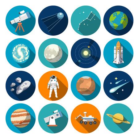 astronauta: Iconos del diseño del piso de la astronomía. Iconos del vector. # 1