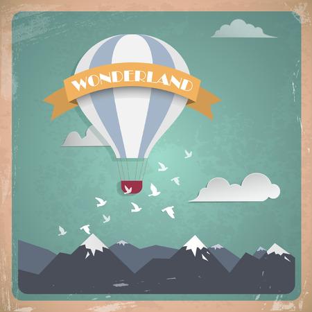 destination wedding: Vector postcard air balloon. Flat vintage design