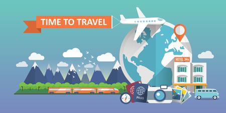 travel: 旅遊的一面旗幟。平矢量插圖。 向量圖像