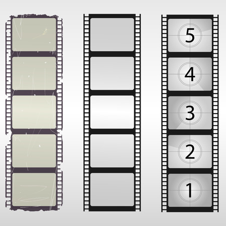 pelicula cine: Pel�cula vieja. N�meros de cuenta regresiva de cine. Ilustraci�n del vector.
