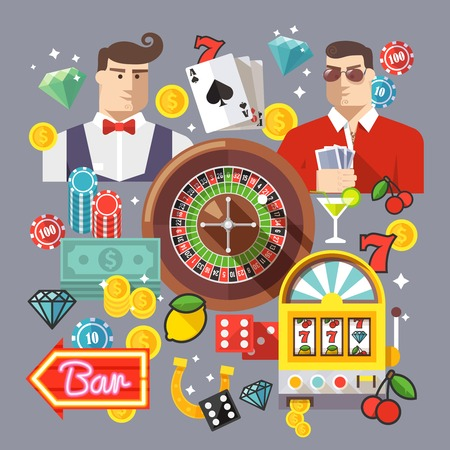 casino chip: Creative casino and poker composition