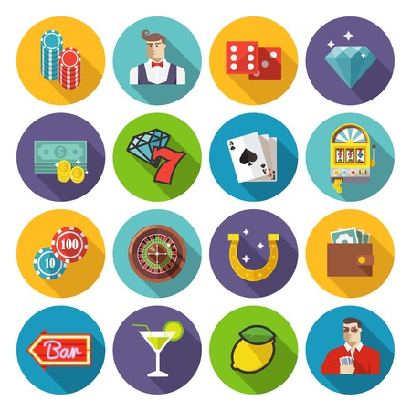 cards poker: Colorful flat vector icons set. Set #2. Casino theme