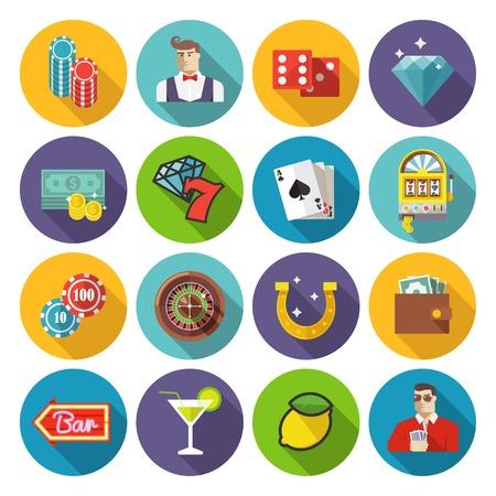 ruleta casino: Coloridos iconos vectoriales planos establecidos. Set # 2. Tema de Casino