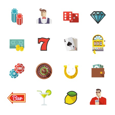 roulette online: Colorful flat vector icons set. Gambling icons, casino icons, money icons, poker icons. Set #1.