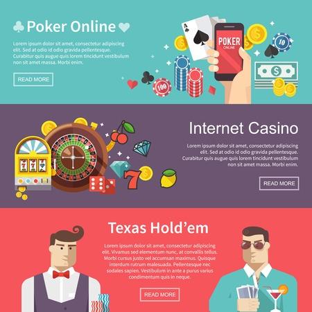 Coloridos planas de póquer y casino vector banderas conjunto.