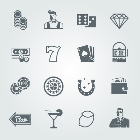 poker chip: Simple black vector icons set for web and mobile apps.
