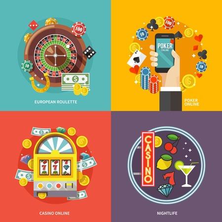 ruleta de casino: Composici�n concepto colorido vector plana. Poker y casino en l�nea. Vectores