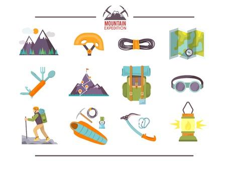 カラフルな平らなベクトル アイコンを設定します。登山のアイコン。セット #1