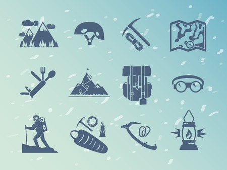 ice climbing: Simple black  vector icons set . Climbing icons. Set #2