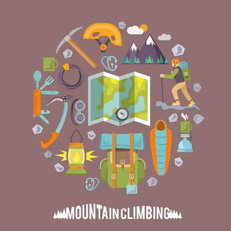 route map: Colorful flat vector icons set. Climbing icons. Set #3
