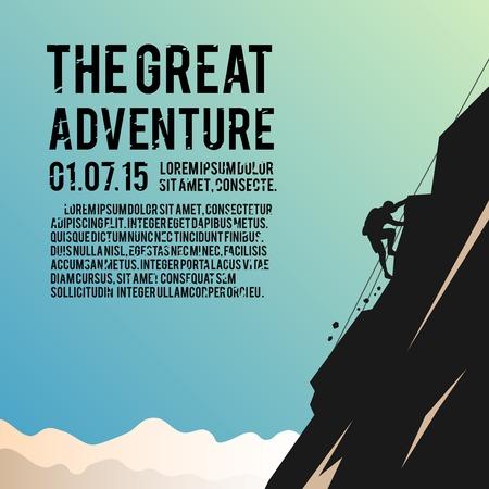 escalada: Cartel colorido del vector. Alpinismo