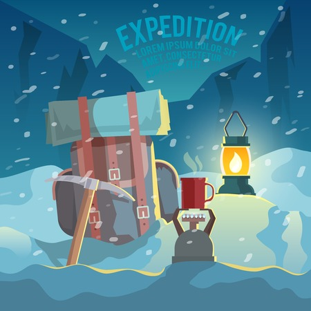 exploration: Colorful vector mountaineering illustration.  Exploration