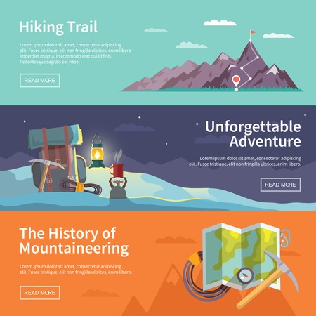 an achievement: Colorful vector flat banner set. The history of mountaineering. Unforgettable adventure. Hiking trail.