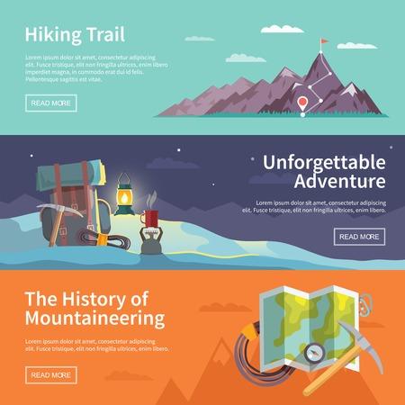 Kleurrijke vector flat banner set. De geschiedenis van de bergsport. Onvergetelijk avontuur. Wandelpad.