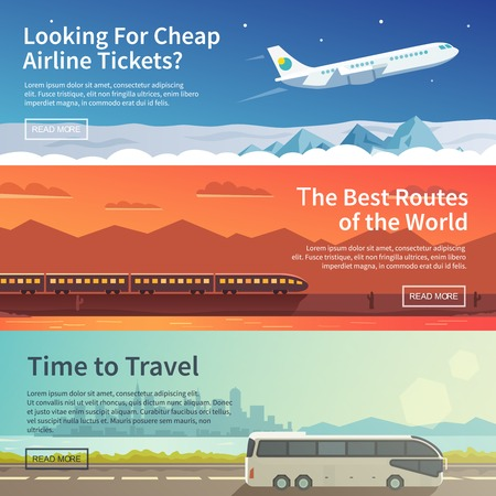 sunset clouds: Vector flat banners set. Travelling Illustration