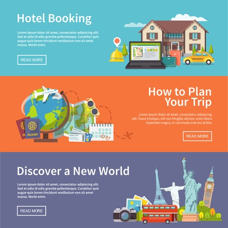 Colorful flat vector travel banners set Illustration