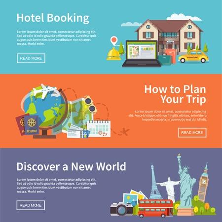 passeport: Colorful bannières de voyage vectoriels plat fixés Illustration