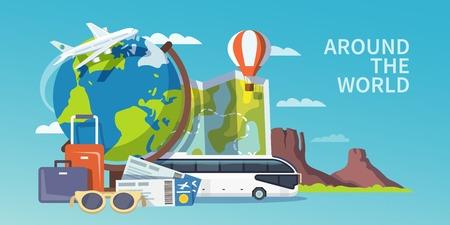 reizen: Kleurrijke platte vector reizen banner. Reclame banner. Rond de wereld.