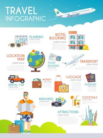 旅遊: 色彩繽紛的旅遊信息圖表矢量。平面樣式 向量圖像