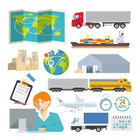 supply chain: Colourful logistics vector icon set