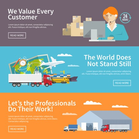 logistics world: Flat vector logistics banners set Illustration