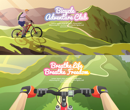 Beautiful set of colorful flat vector banners on the theme: mountain biking. Stock Illustratie