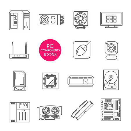 disks: Modern line icons set. PC components. Computer store. Assembling a Desktop Computer Illustration