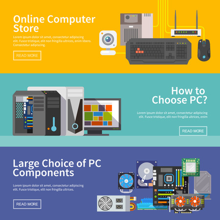 computer cpu: Beautiful set of colorful flat vector banners on the theme: assembling a desktop computer, computer store, choice of PC components.