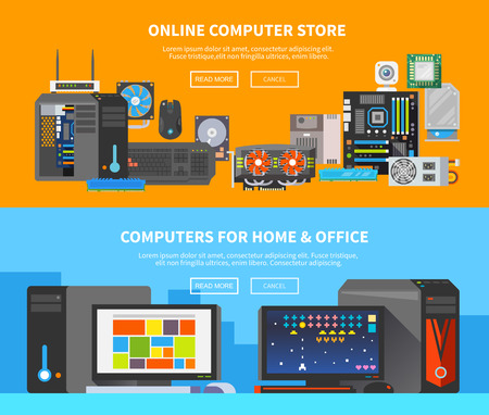 memory card: Beautiful set of colorful flat vector banners on the theme: assembling a desktop computer, buy computer, computer repair.