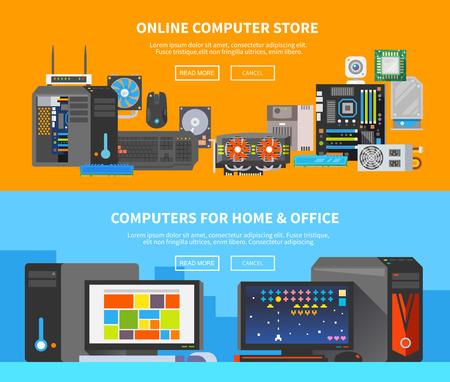 počítač: Krásná sada barevných plochých vektorových bannery na téma: montážní stolní počítač, koupit počítač, počítač opravit.