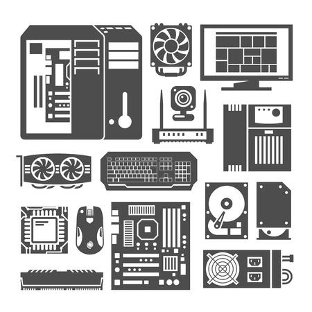 componentes: Iconos negros simples establecen. Componentes de PC. Tienda de computadoras. Montaje de una computadora de escritorio.