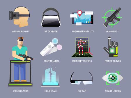 가상 현실, 비디오 게임, 테마 벡터 아이콘의 집합은 현실을 증강.