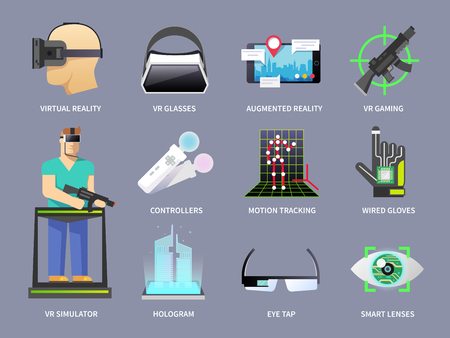 virtual reality simulator: Set of vector icons on the theme of virtual reality, video games, augmented reality.