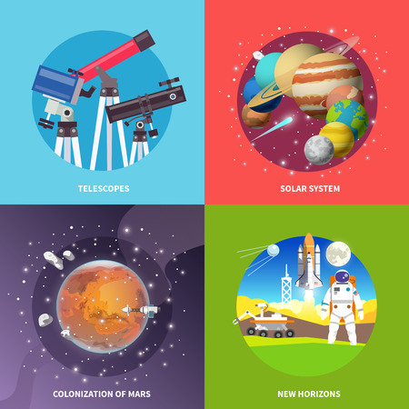 systems: Beautiful set of colorful flat vector square banners on the theme: telescopes,solar system, mars, space.