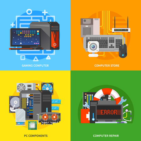 computer part: Beautiful set of colorful flat vector square banners on the theme: gaming computer, pc components, computer repair, pc store. Illustration