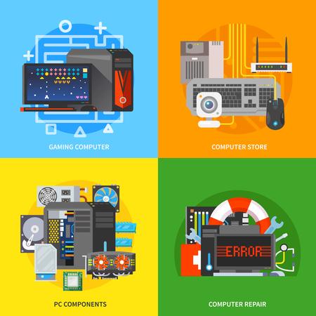 componentes: Hermoso conjunto de coloridas banderas planas cuadradas vectorial sobre el tema: juego de ordenador, componentes de pc, reparación de equipo, tienda de PC.