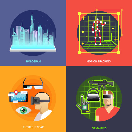virtual reality simulator: Beautiful set of colorful flat vector square banners on the theme: hologram, motion tracking, virtual reality, vr gaming. Illustration