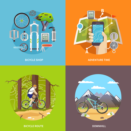 biking: Beautiful set of colorful flat vector square banners on the theme: mountain biking, cycling, bike store, downhill.