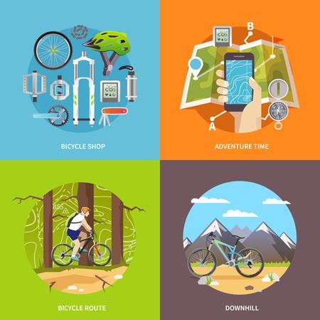 bicicleta vector: Hermoso conjunto de coloridas banderas planas cuadrados vectorial sobre el tema: bicicleta de montaña, ciclismo, tienda de bicicletas, cuesta abajo. Vectores