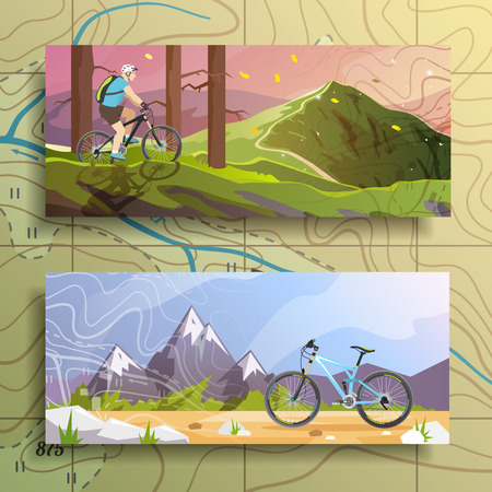 biking: Beautiful set of colorful flat vector banners on the theme: mountain biking, cycling. Illustration